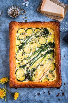 Spring Tart with Ricotta, Leek, Spouting Broccoli and Courgette supergolden bakes