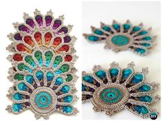 Crochet Peacock Tail Feather Coaster Applique Pattern --10 Crochet Peacock Projects Free Patterns