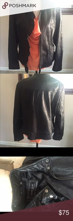 Ruffle Front Leather Scuba Jacket Beautiful 100% Leather Jacket. Worn only a few times. This jacket is in excellent condition. Wilsons Leather Jackets & Coats