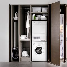 Discover more details on laundry room stackable. Look into our website. Laundry Cupboard, Laundry Closet, Cupboard Storage, Laundry In Bathroom, Laundry Nook, Cupboard Ideas, Modern Laundry Rooms, Laundry Room Layouts, Laundry Room Design