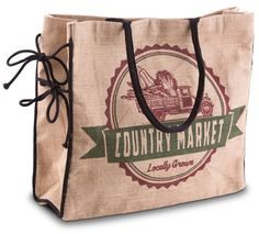 Amazon.com: Mona B Country Market Burlap Tote Bag with Coin Purse: Clothing