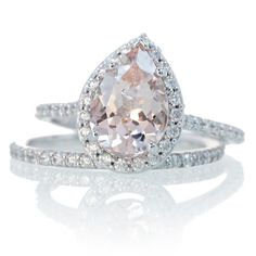 Bridal Set with Matching Band 14K White Gold Pear Cut by samnsue, $1650.00
