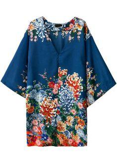 Vestido suelto casual cuello pico floral -azul