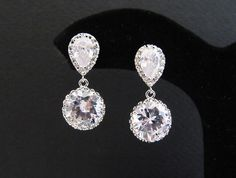 Bridal Earrings Bridesmaid Earrings Matte Rodium plated Cubic zirconia earrings with clear white round cubic zirconia Crystal drops -$27.00
