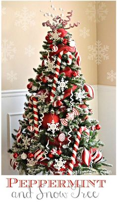 Peppermint & Snow Christmas Tree Theme
