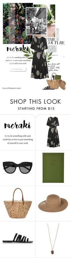 """Meraki"" by mutsam17 ❤ liked on Polyvore featuring Meraki, Adeam, Le Specs, School of Life, Straw Studios, Armani Jeans, Ancient Greek Sandals, Topshop and Emerson"