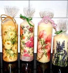 Decoupage tutorial - decorationg candles with napkins easily // Gyönyörű egyedi gyertyák szalvétákkal egyszerűen hajszárítóval // Mindy - craft tutorial collection //
