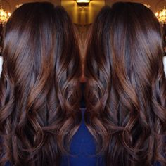 Best Long Curled Chocolate Brown Hair with Cinnamon Highlights