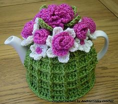 Gorgeous! Just like Nana had :) Crochet Flower Basket Tea Cosy Pattern by Andrea Lesley