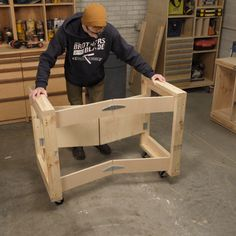 Saturday Morning Workshop: Folding Mobile Workbench Build this handy mobile workbench that folds up to only 7 in. You only need two hours some plywood and 8 of The post Saturday Morning Workshop: Folding Mobile Workbench appeared first on Woodworking Diy. Mobile Workbench, Folding Workbench, Workbench Ideas, Garage Workbench, Workbench Organization, Workbench Designs, Industrial Workbench, Simple Workbench Plans, Table Saw Workbench