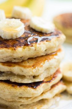 Light and fluffy vegan banana pancakes are so easy to make (1 bowl) and full of flavor! #vegan #plantbased