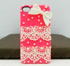 Fashion iphone 5 iphone 4 case case Lace case bows by dnnayding, $20.99