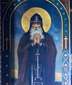 St Paphnuti mural icon by Wilgelm Kotarbinsk at St Volodymyr's Cathedral in Kiev.
