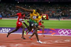 Gold: Usain Bolt, Jamaica    Silver: Yohan Blake, Jamaica    Bronze: Justin Gatlin, USA        Usain Bolt won a blistering 100-meter dash with a new Olympics record time of 9.63. This is just off his world record time of 9.58.    Bolt wasn't the only one going fast. His teammate Yohan Blake set a personal best with a time of 9.75. He was followed closely by USA's Justing Gatlin, who also scored a personal best with a time of 9.79.    Seven of the eight runners were under 10 seconds.