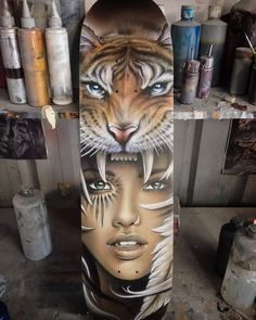 Finished this skateboard deck off today. #airbrush #airbrushdirtbag #board #custom #deck #dirtbag #dirtbagdesignz #girl #handpainted #iwata #iwatamedia #moneymaker #mask #paint #painting #skateboard #tattoo #tattoodesign #tiger