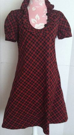 J.Crew Black Red Tartan Plaid Check Ruffle Neck Short Sleeve Cotton Dress 4 #JCrew #ShirtDress #Casual