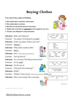 A simple role play exercise about buying clothes. - ESL worksheets