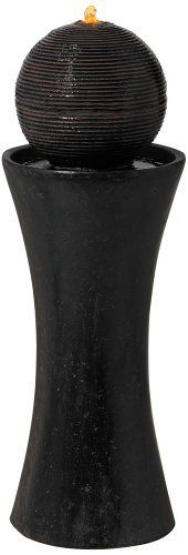 Dark Sphere Pillar Floor Fountain by Universal Lighting and Decor. $169.99. An indoor/outdoor floor fountain is a great way to add a calming, artistic accent to your home. This standing pedestal design features a dark, ribbed sphere that gently directs the water as it flows into the basin below. Crafted from resin, this home or garden decor is extremely lightweight and easy to position before filling with water. A handsome, dark faux stone finish gives the look of nat...