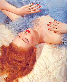 Love this early Vogue picture of a #redhead in blue! #color #haircolor #makeup