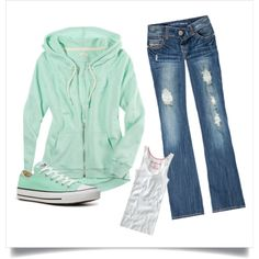 Only my outfit Jean capris Outfits For Teens, Fall Outfits, Summer Outfits, Casual Outfits, Cute Outfits, Converse Outfits, Mint Converse, Mint Green Outfits, Aeropostale Outfits