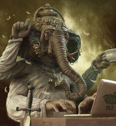 Anthropomorphic Ganesh by Andrew Ferez Art And Illustration, Illustrations, Rene Magritte, Fantasy Kunst, Fantasy Art, Art Du Monde, Vladimir Kush, Digital Art Gallery, Psy Art