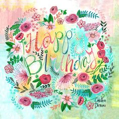 Shop Stylish pink & yellow Birthday Flowers greeting Card created by CartitaDesign. Personalize it with photos & text or purchase as is! Happy Birthday Pictures, Happy Birthday Quotes, Happy Birthday Greetings, Birthday Images, Happy Birthday Frau, Birthday Woman, Yellow Birthday, Bday Cards, Birthday Design