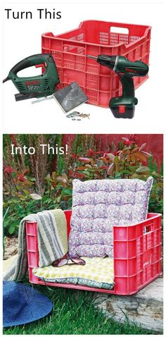 How To Upcycle A Plastic Fruit Crate Into A Garden Armchair | DIY Tag