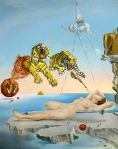 Salvador Dalí-Dream caused by the Flight of a Bee. Love the light  on the calm ocean at the horizon.