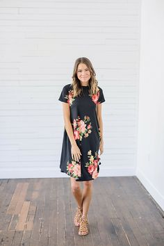 Black Floral Printed Dress from Bella Ella Boutique   Bella Ella Boutique. Womens Online Clothing Boutique. Floral Dress. Floral Dress for Spring. Modest Dresses for Spring. Black Floral Dress. Black Floral. Summer Dress. Dress. Black. Floral. Floral Print.