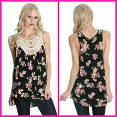 Floral crochet top L Black floral tank with a crochet nextline. Made in USA Fabric: 96% rayon 4% spandex  This listimg is for the size large. Small mefium and large available.  Discounts on bundles. boutique Tops Tank Tops