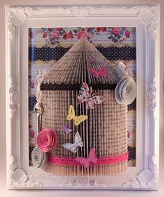 (18) handmade shabby chic bird cage Origami book fold art framed 10 x 8