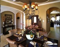Moroccan themed dining room with metallic ceiling