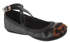 MAYA TWO TONE WITH PONYHAIR CAP TOE AND BACK - CROSS-OVER BALLET FLATS - WOMEN