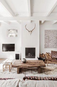 La cheminée apporte un côté confortable dans un salon scandinave Plus