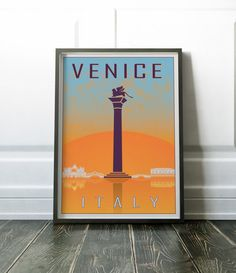 Minimalist travel print. A beautiful and minimalist Venice, Italy travel poster. Visit my store for more prints of cities and countries.  Most of my prints are now available for you to print at home in my other shop here: www.etsy.com/uk/shop/NordicDesignHouseCo  MY PRINTS  Prints are produced on a professional Canon printer using Canon dye based inks and a 6 colour system to ensure vivid and rich coloured prints every time. Actual colours may vary slightly as each monitor displays colours…