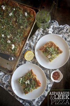 Asparagus & Leek Pizza - shutterbean (use gf pizza dough)