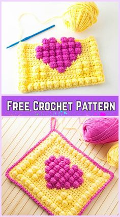 Crochet Bobble Heart Granny Square Potholder Free Pattern