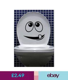 Wall Decals & Stickers Cartoon Face Toilet Seat Vinyl Sticker Bathroom Decals #ebay #Home & Garden