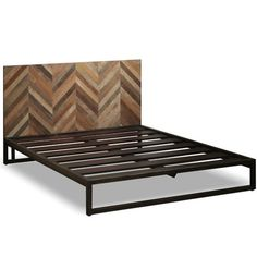 Wood herringbone head board, bed frame Ikan Bed