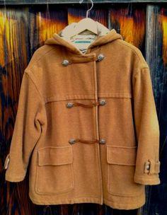 United Colors of Benetton Men's Long Coat Toggle Hood Heavy Wool S 38 PRISTINE!!