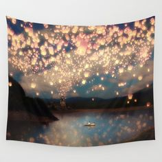 Love Wish Lanterns Wall Tapestry by Paula Belle Flores - $39.00