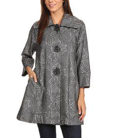 Karen T. Design Black Geometric Wide-Collar Button-Up Jacket - Plus by Karen T. Design #zulily #zulilyfinds