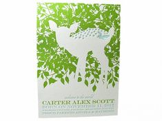 Letterpress Fawn Baby Announcement - Carter Suite  Spark Letterpress www.letterpresslove.com
