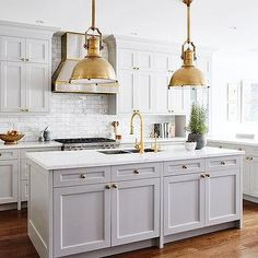 Gray Kitchen Island with Brass Large Country Industrial Pendants - white gray gold kitchen - magnolia