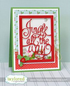 Jingle Shaker Card by Taylor VanBruggen #Cardmaking, #ShakerCards, #TE, #ShareJoy, #Christmas, #TEMatched, #LittleBitsDies