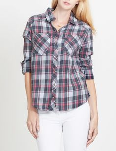 LE3NO Womens Plaid Button Down Flannel Shirt with Roll Up Sleeves