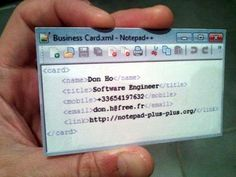 Business cards for computer geeks - love it!