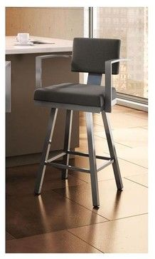 Akers Swivel Bar Stool in Glossy Grey Finish - contemporary - Bar Stools And Counter Stools - ivgStores