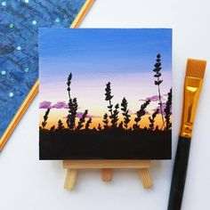 Made to order Original painting with easel! Hand painted Sunset scene on little canvas, bright colors artwork. Grass, black silhouettes, sky