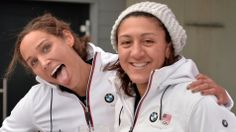 """20 Twitter Accounts to Follow For the 2014 Winter Olympics"" -- A wide variety of choices and types of accounts suggested by Mashable. Shown: ""Lolo Jones and Elana Meyers of the U.S. women's bobsled team at the Bobsled World Cup on Jan 5, 2014."""